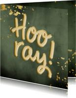 Felicitatiekaart 'Hooray!' ballonnen met groene waterverf