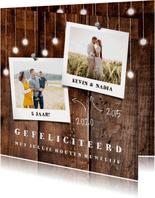 felicitatiekaart hout met hangende lampjes en foto's