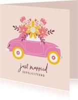 Felicitatiekaart huwelijk auto bloemen beige
