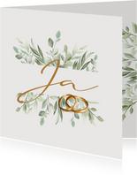 Felicitatiekaart huwelijk - Botanisch met goude ringen