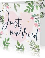 Felicitatiekaart huwelijk botanisch