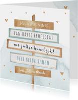 Felicitatiekaart huwelijk getrouwd wegwijzers goud confetti
