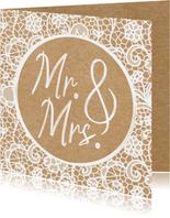 Felicitatiekaart huwelijk - Mr. & Mrs. - Nieuw bruidspaar