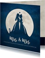 Felicitatiekaart huwelijk - silhouet van 2 vrouwen in maan