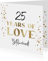 Felicitatiekaart huwelijksjubileum met goud en hartjes