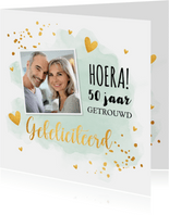 Felicitatiekaart huwelijksjubileum waterverf mintgroen foto