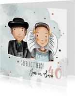 Felicitatiekaart huwelijksjubileum Zeeuws echtpaar