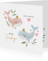 Felicitatiekaart jongen meisje tweeling met walvissen