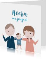 Felicitatiekaart jongen Ouders & Wiegje