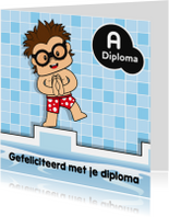 Felicitatiekaart jongen zwemdiploma 1