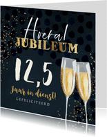 Felicitatiekaart jubileum 12,5 champagne goud confetti