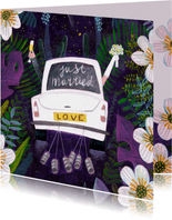 Felicitatiekaart Just Married auto