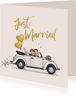 Felicitatiekaart Kever cabrio met homostel