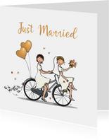 Felicitatiekaart LGBTQ stel op fiets