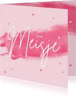Felicitatiekaart meisje baby roze waterverf hartjes