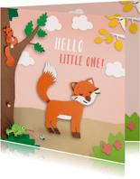 felicitatiekaart meisje dieren in het bos