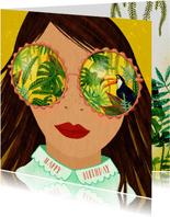 Felicitatiekaart meisje met tropische zonnebril