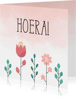 Felicitatiekaart met bloemen en waterverf