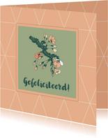 Felicitatiekaart met een geometrisch patroon en bloesem