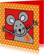 Verjaardagskaarten - Felicitatiekaart met een muis voor 3 jaar