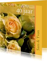 Felicitatiekaart met gele rozen x jaar