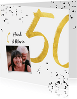 Felicitatiekaart met gouden 50, spetters en foto