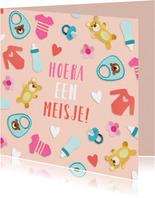 Felicitatiekaarten - Felicitatiekaart met hartjes en  baby illustraties