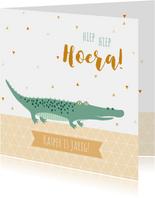 Felicitatiekaart met lieve krokodil