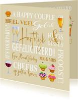 Felicitatiekaart met teksten, drankjes en gebakjes huwelijk
