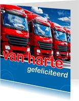 Felicitatiekaart met vrachtwagens