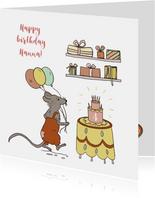 Felicitatiekaart muis met taart, ballonnen en kadootjes