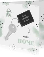 Felicitatiekaart new home sleutel met label