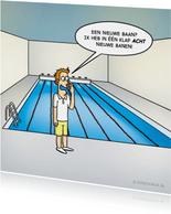 Felicitatiekaart nieuwe baan met grappige cartoon 'zwembad'