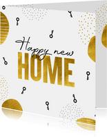Felicitatiekaart nieuwe woning Happy new home goudlook