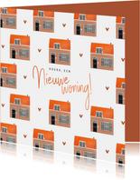 Felicitatiekaart nieuwe woning huisjes illustratie patroon