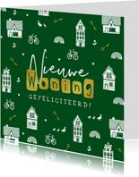 Felicitatiekaart nieuwe woning huisjes sleutels fietsen