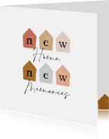 Felicitatiekaart nieuwe woning met abstracte huisjes