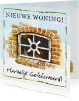 Felicitatiekaarten - Felicitatiekaart 'nieuwe woning' met stalraam