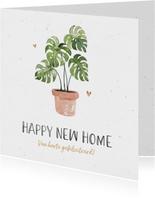 Felicitatiekaart nieuwe woning plant botanisch hartjes