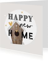 Felicitatiekaart nieuwe woning vogelhuisje gouden hartjes