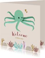 Felicitatiekaart octopus groen