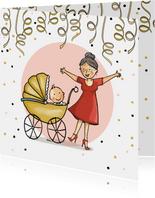 Felicitatiekaart oma met baby