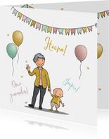 Felicitatiekaart oma met kleinkind ballonnen