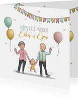 Felicitatiekaart opa en oma en nieuwe baby