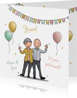 Felicitatiekaart opa en oma huwelijksjubileum