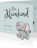 Felicitatiekaart opa en oma kleinkind olifantje unisex