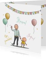 Felicitatiekaart opa met kleinkind met ballonnen