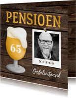 Felicitatiekaart pensioen bierglas met foto en leeftijd