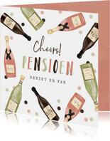 Felicitatiekaart pensioen cheers wijntjes confetti