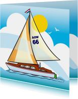 Felicitatiekaart  pensioen zeilboot met tekst AOW 66